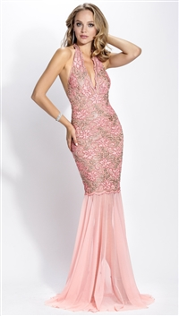 Baccio Couture Pink Mesh & Silver Hand Painted Gloria Maxi Dress