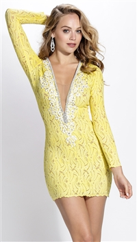 Baccio Couture Yellow Hand Painted Hellen Mini Dress