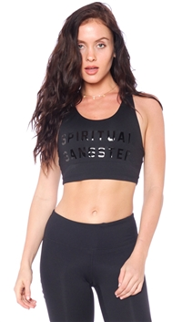 Spiritual Gangster Black 'Collegiate' SG Work Out Crop Tank