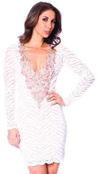 Baccio Couture White & Blush Hand Painted Front Mini Dress