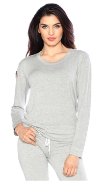 Monrow Heather Gray Crew Neck Sweat Shirt