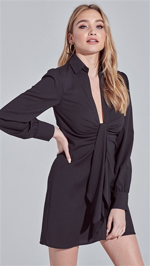 Blue Blush Black Front Detailed Low Neck Long Sleeve Button Down Shirt Dress