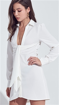 Blue Blush Off White Front Detailed Low Neck Long Sleeve Button Down Shirt Dress