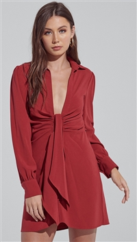Blue Blush Wine Front Detailed Low Neck Long Sleeve Button Down Shirt Dress