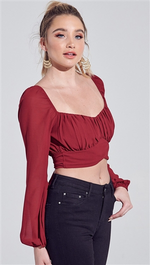 Blue Blush Burgundy Chiffon Bubble Sleeve Back Tie Crop Top