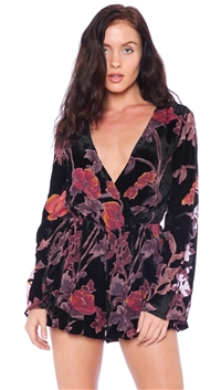 Honey Belle Black Floral Velvet Romper