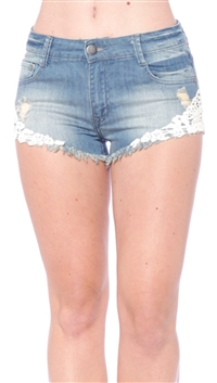 OnTwelfth Blue Crochet Side Jean Shorts