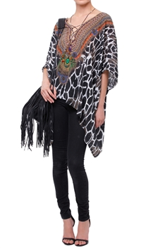 Parides Caviar Black 'Jaguar' 4 Ways to Style Short Kaftan