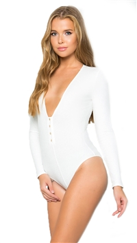 Makers Of Dreams White Snap Button V-Neck L/S Bodysuit
