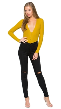Makers Of Dreams Mustard Snap Button V-Neck L/S Bodysuit