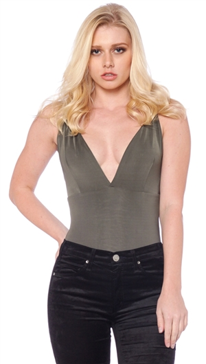 Makers of Dreams Olive Deep V Body Suit