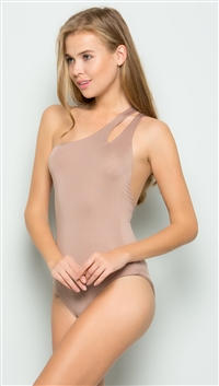 Makers of Dreams Latte One Shoulder Bodysuit