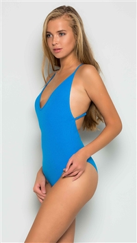 Makers of Dreams Blue Ribbed Open Back Bodysuit