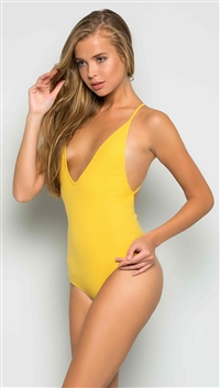 Makers of Dreams Yellow Ribbed Open Back Bodysuit