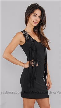 Kimikal Black Beaded Detail with Fringe Mini Dress
