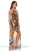 Baccio Couture Snake Print Dress with Stones