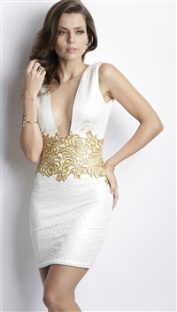 Baccio Couture Ivory & Gold 'Katy' Hand Painted Mini Dress