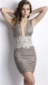 Baccio Couture Platinum & Beige 'Katy' Hand Painted Mini Dress