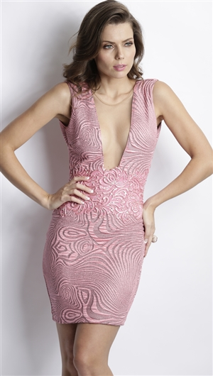 Baccio Couture Pink 'Katy' Hand Painted Mini Dress