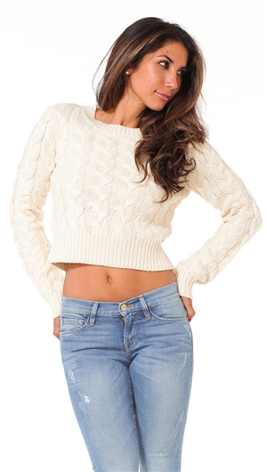 Just One Answer Beige Cropped Pullover