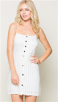 LUNIK Off White Smocking Back Cami Dress