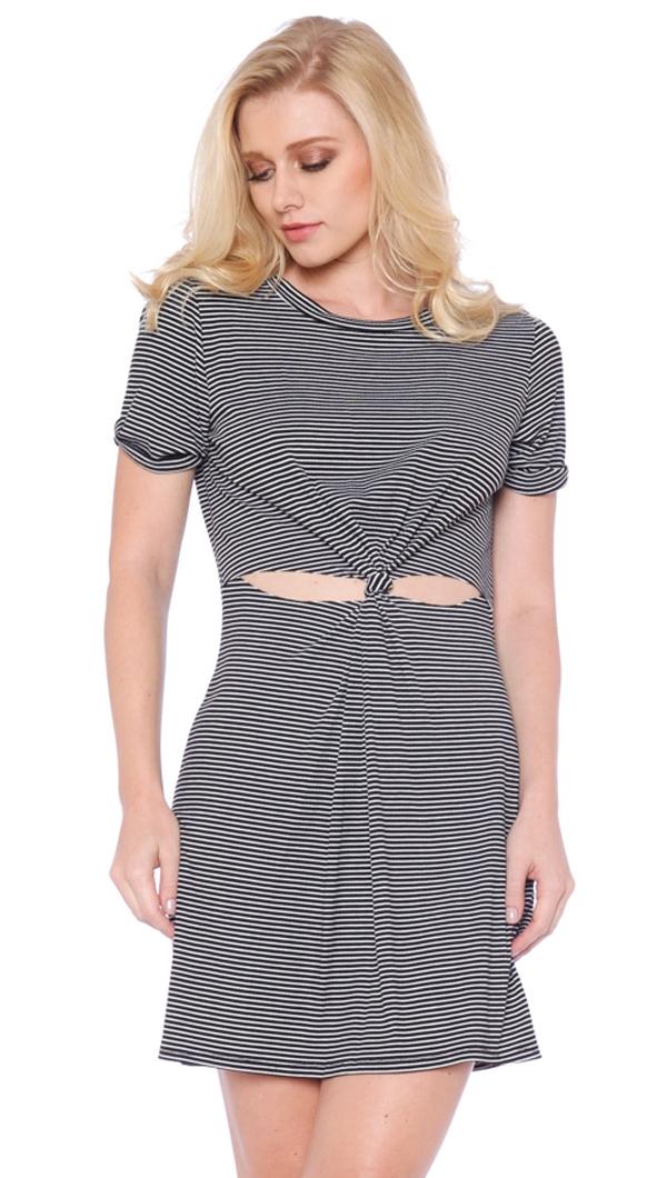 0a313a661ad Honey Punch Black & White Striped T-Shirt Cut-out Dress
