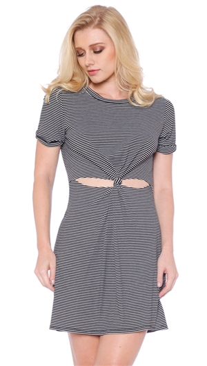 Honey Punch Black & White Striped T-Shirt Cut-out Dress