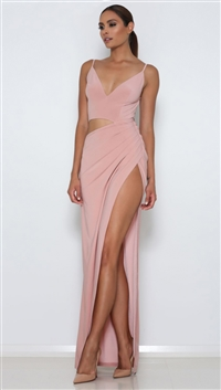 Abyss By Abby Blush 'Lee' High Leg Split Maxi Dress