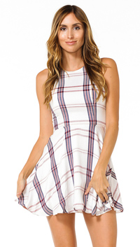 Lovers + Friends Wine Sadie Fit N Flare Mini Dress