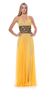 Baccio Couture Yellow Lily Bandage Hand Painted Maxi Dress