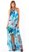 Baccio Couture Hi-Low Blue Lizi Dress