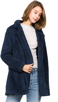 LUNIK Navy Fur Jacket