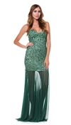 Baccio Couture Green Lola Hand Painted Maxi Dress