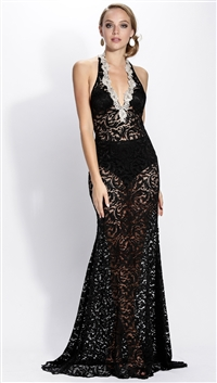 Baccio Couture Black Lorena Lace Maxi Dress