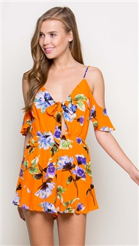 LUNIK Floral Orange Romper