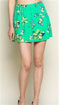 LUNIK Green Button Detail Mini Skirt