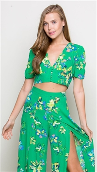 LUNIK Green V Neck Button Detail Crop Top