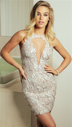 Baccio Couture White 'Lula' Hand Painted Caviar Mini Dress