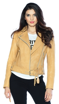 Muubaa Tan Leather Jacket