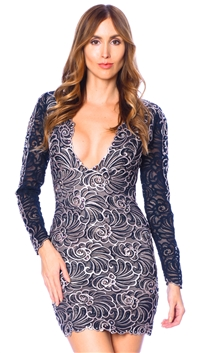Baccio Couture Navy Mesh Long Sleeve Mini Dress