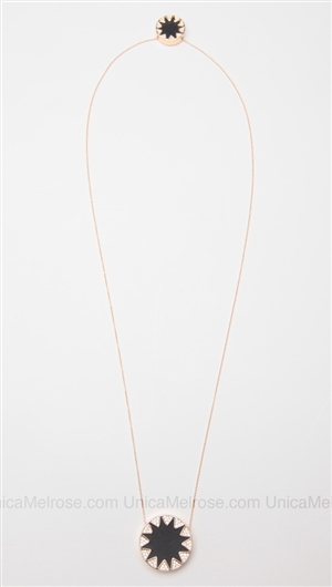House of Harlow 14 kt Gold Plated Starburst Stations Necklace with Black Leather and Pave