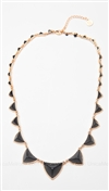 House of Harlow 14 kt Gold Plated Pyramid Station Necklace with Black Resin