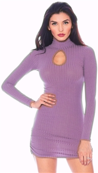Nicole Andrews Lilac 'Forever' Ribbed Peekaboo Mini Dress