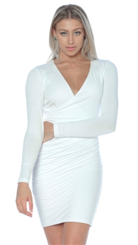 Nicole Andrews Collection Long Sleeve White 'Forever' Wrap Mini Dress