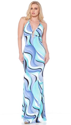 Nicole Andrews Collection Blue Swirl 'Malibu' Maxi Dress
