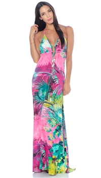 Nicole Andrews Collection Pink Peacock 'Malibu' Maxi Dress