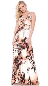 Nicole Andrews Collection Wild Salmon 'Malibu' Maxi Dress