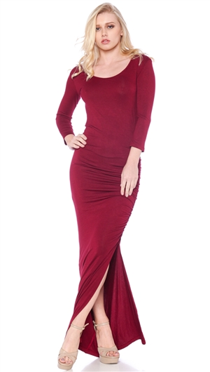 Nicole Andrews Collection Wine 'Forever' 3/4 Sleeve Maxi Dress
