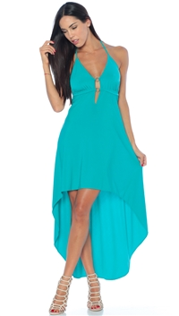 Nicole Andrews Collection Aqua 'Malibu' High-Low Dress