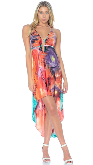 Nicole Andrews Collection Peacock 'Malibu' High-Low Dress